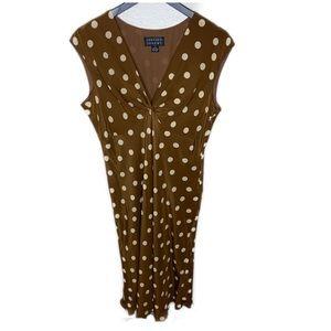 Spencer Jeremy mustard brown silk Polk a dot dress